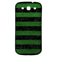 Stripes2 Black Marble & Green Leather Samsung Galaxy S3 S Iii Classic Hardshell Back Case