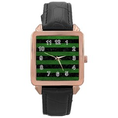 Stripes2 Black Marble & Green Leather Rose Gold Leather Watch
