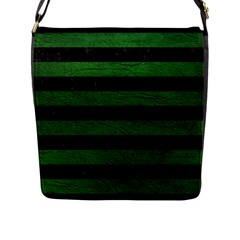 Stripes2 Black Marble & Green Leather Flap Messenger Bag (l)