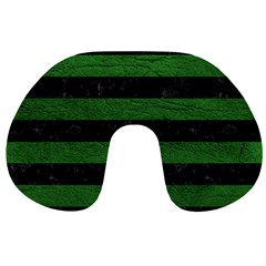 Stripes2 Black Marble & Green Leather Travel Neck Pillows