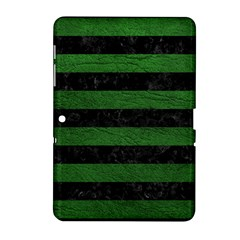 Stripes2 Black Marble & Green Leather Samsung Galaxy Tab 2 (10 1 ) P5100 Hardshell Case