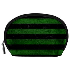 Stripes2 Black Marble & Green Leather Accessory Pouches (large)