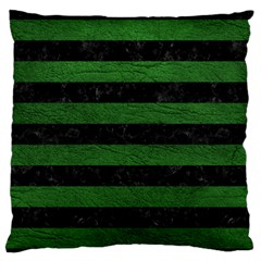 Stripes2 Black Marble & Green Leather Large Flano Cushion Case (two Sides)