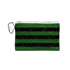 Stripes2 Black Marble & Green Leather Canvas Cosmetic Bag (s)