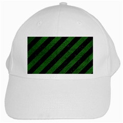 Stripes3 Black Marble & Green Leather White Cap