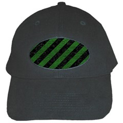Stripes3 Black Marble & Green Leather Black Cap