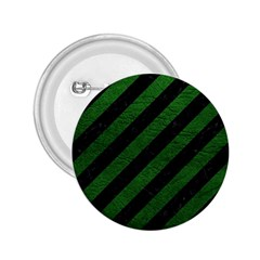 Stripes3 Black Marble & Green Leather 2 25  Buttons