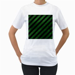 Stripes3 Black Marble & Green Leather Women s T Shirt (white) (two Sided)