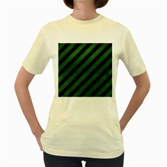 Stripes3 Black Marble & Green Leather Women s Yellow T Shirt