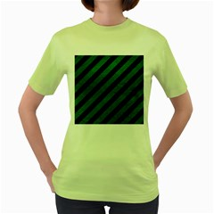 Stripes3 Black Marble & Green Leather Women s Green T Shirt