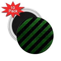 Stripes3 Black Marble & Green Leather 2 25  Magnets (10 Pack)