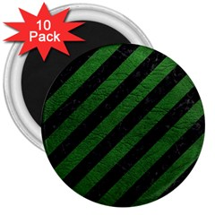 Stripes3 Black Marble & Green Leather 3  Magnets (10 Pack)