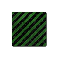Stripes3 Black Marble & Green Leather Square Magnet