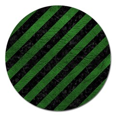 Stripes3 Black Marble & Green Leather Magnet 5  (round)