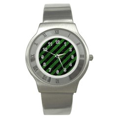 Stripes3 Black Marble & Green Leather Stainless Steel Watch
