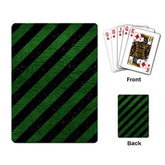 Stripes3 Black Marble & Green Leather Playing Card