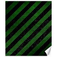 Stripes3 Black Marble & Green Leather Canvas 8  X 10