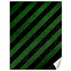 Stripes3 Black Marble & Green Leather Canvas 36  X 48