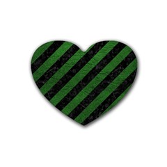 Stripes3 Black Marble & Green Leather Rubber Coaster (heart)