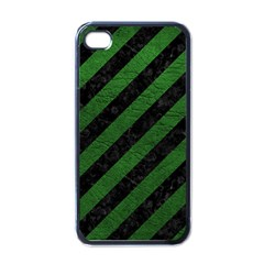 Stripes3 Black Marble & Green Leather Apple Iphone 4 Case (black)