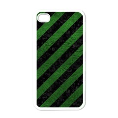 Stripes3 Black Marble & Green Leather Apple Iphone 4 Case (white)