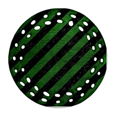 Stripes3 Black Marble & Green Leather Round Filigree Ornament (two Sides)
