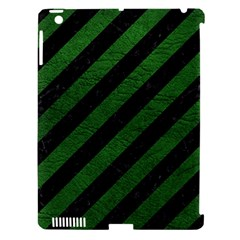 Stripes3 Black Marble & Green Leather Apple Ipad 3/4 Hardshell Case (compatible With Smart Cover)