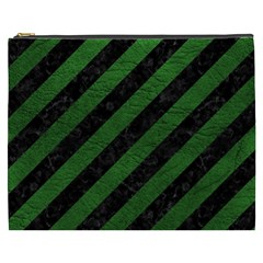 Stripes3 Black Marble & Green Leather Cosmetic Bag (xxxl)