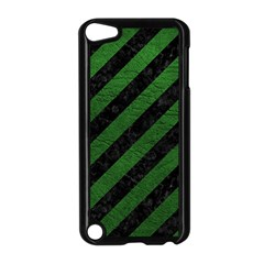 Stripes3 Black Marble & Green Leather Apple Ipod Touch 5 Case (black)