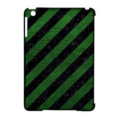 Stripes3 Black Marble & Green Leather Apple Ipad Mini Hardshell Case (compatible With Smart Cover)