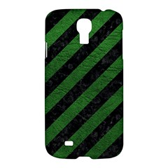 Stripes3 Black Marble & Green Leather Samsung Galaxy S4 I9500/i9505 Hardshell Case