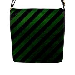 Stripes3 Black Marble & Green Leather Flap Messenger Bag (l)