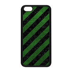 Stripes3 Black Marble & Green Leather Apple Iphone 5c Seamless Case (black)