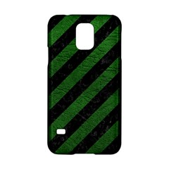 Stripes3 Black Marble & Green Leather Samsung Galaxy S5 Hardshell Case