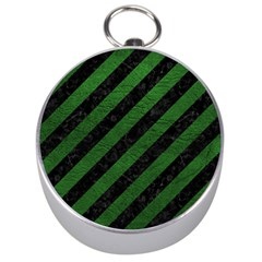 Stripes3 Black Marble & Green Leather Silver Compasses