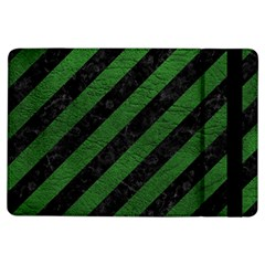 Stripes3 Black Marble & Green Leather Ipad Air Flip