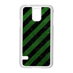 Stripes3 Black Marble & Green Leather Samsung Galaxy S5 Case (white)