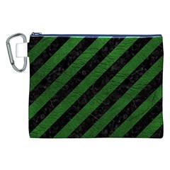 Stripes3 Black Marble & Green Leather Canvas Cosmetic Bag (xxl)