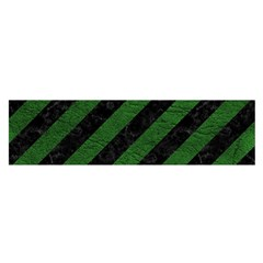 Stripes3 Black Marble & Green Leather Satin Scarf (oblong)