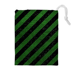 Stripes3 Black Marble & Green Leather Drawstring Pouches (extra Large)