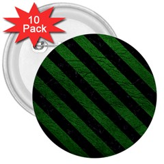 Stripes3 Black Marble & Green Leather (r) 3  Buttons (10 Pack)