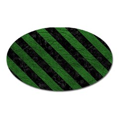 Stripes3 Black Marble & Green Leather (r) Oval Magnet