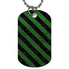 Stripes3 Black Marble & Green Leather (r) Dog Tag (one Side)