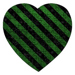 Stripes3 Black Marble & Green Leather (r) Jigsaw Puzzle (heart)