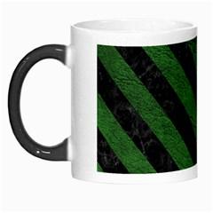 Stripes3 Black Marble & Green Leather (r) Morph Mugs