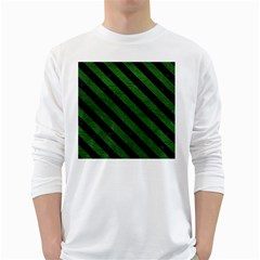 Stripes3 Black Marble & Green Leather (r) White Long Sleeve T Shirts