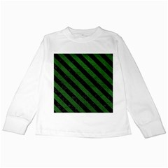 Stripes3 Black Marble & Green Leather (r) Kids Long Sleeve T Shirts