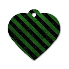 Stripes3 Black Marble & Green Leather (r) Dog Tag Heart (two Sides)