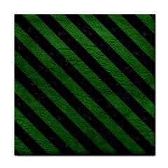 Stripes3 Black Marble & Green Leather (r) Face Towel