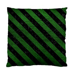 Stripes3 Black Marble & Green Leather (r) Standard Cushion Case (one Side)